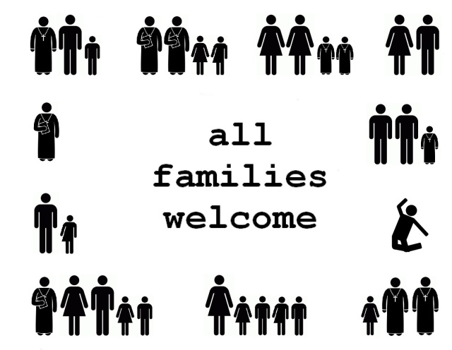 all families welcome church sign with singles